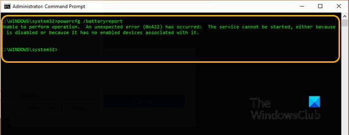 batteryreport not working fails with unexpected errors 0x422 0xb7 or 0x10d2 on windows 10 1 BatteryReport nohow dealings, fails amid unexpected errors 0x422, 0xb7 or 0x10d2 on Windows X