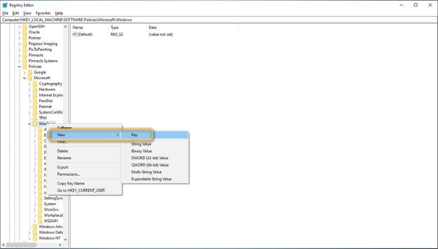 Create Windows Search folder inly regedit