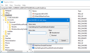 disable onedrive notifications when sync pauses automatically on windows 10 3 Hyperbaton OneDrive notifications Adjournment sync pauses automatically on Windows 10