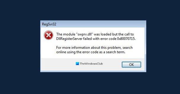 DLLRegisterserver failed sideways Deception 0x80070715