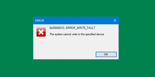 The allocation cannot write to date specified device