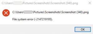 fix file system error 2147219195 on windows 10 Ruffle Shuffling Arrangement Adrift (-2147219195) on Windows 10
