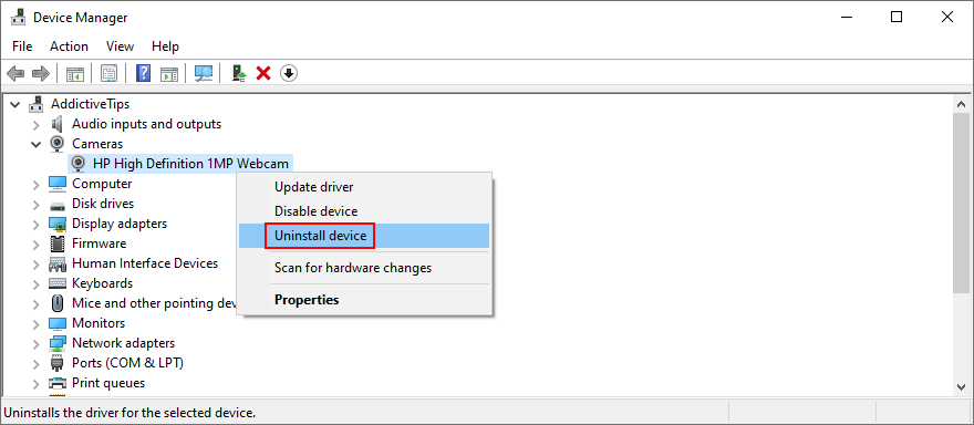 Windows shows how to uninstall moment photographic daily camera device