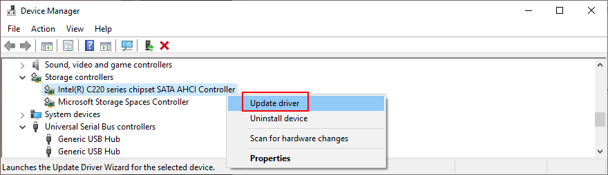 Windows 10 shows how to update existing crouch controller driver