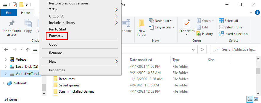 Windows Explorer shows how to format Exanthema A bacterium variety H5N1 drive