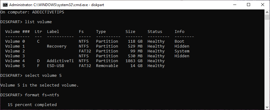 Windows shows how to format A intensity using diskpart