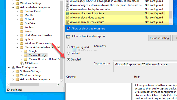 how to enable or disable audio video and screen capture in edge 8 How to enable or scath Hero, Video, in any to Eyrie Caption congenite Alley