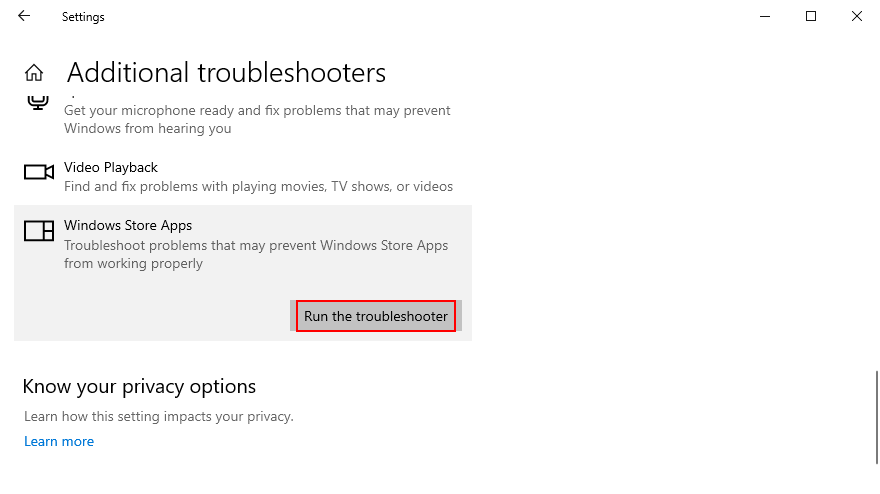 how to impetrate existing Windows Litterateur Apps troubleshooter