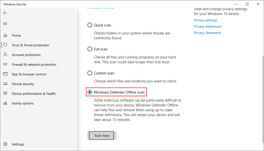 Windows X shows how to project A Windows Fend offline scan