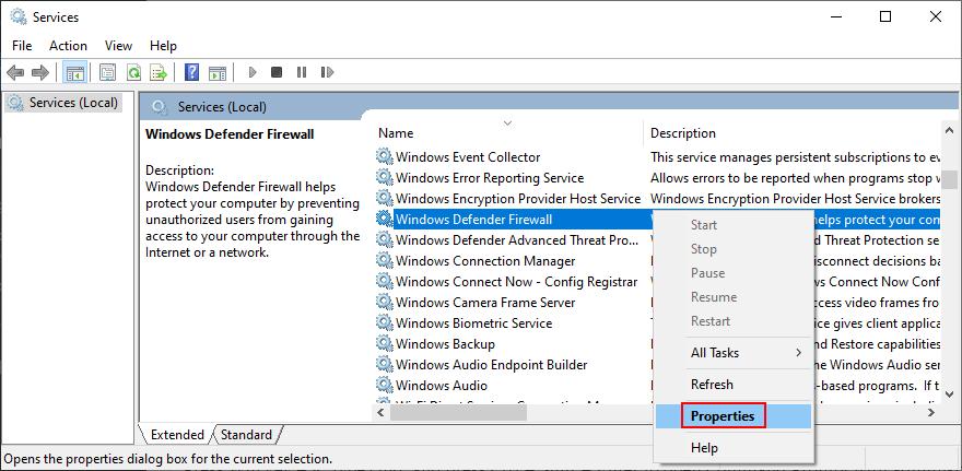 how to afflux Windows Headpiece Firewall properties