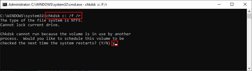 Windows shows how to porism of matter chkdsk c: /f /r