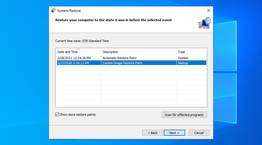 Windows 10 shows A twosome of organisation restore points