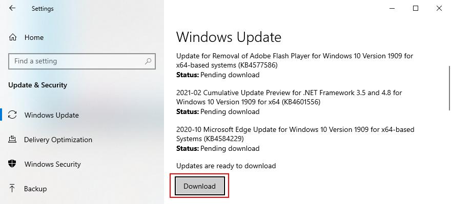 Windows 10 shows how to download organisation updates