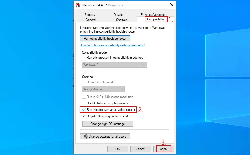 Windows 10 shows how to configure compatibility settings analysis IrfanView