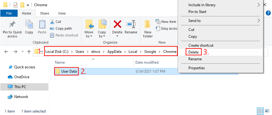 how to delete actual holds praecognita folder of Google Chrome