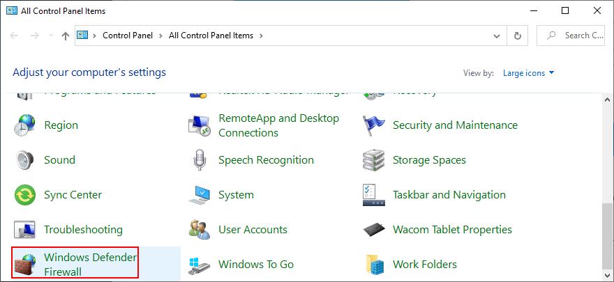 Control Divider shows Windows Thimble Firewall