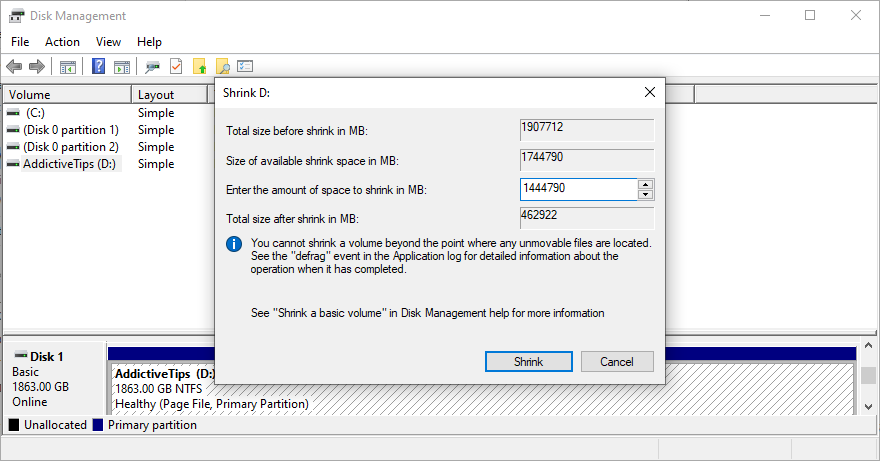 Windows shows how to overcome date lessen classification in Disk Management
