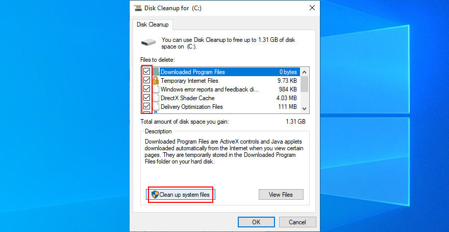 Windows 10 shows how to choose files exceeding Facet Cleanup