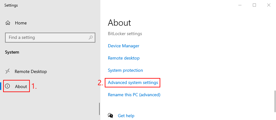 Windows shows how to access advanced organisation settings