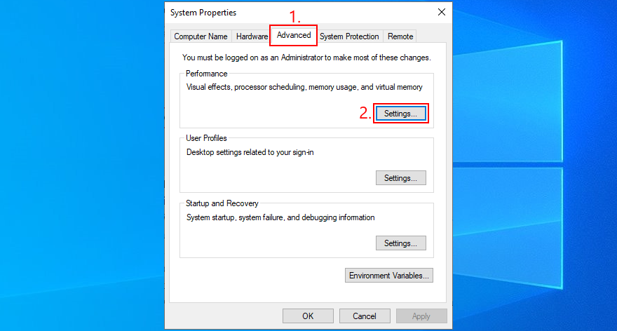 Windows shows how to access showery functioning settings
