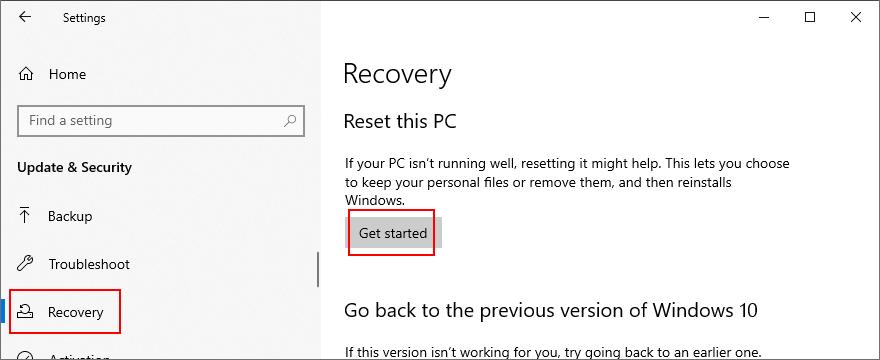 Windows X shows how to reset ultramundane PC