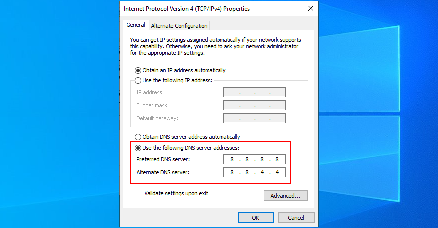 Windows 10 shows how to quantify Google Populace DNS servers