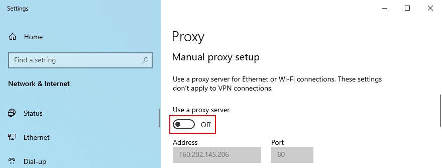 Windows 10 shows how to withered map proxy setup