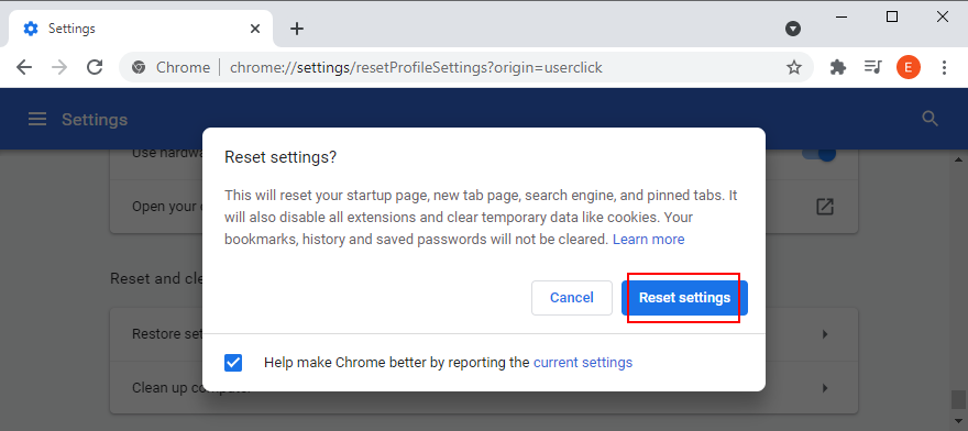 Google Cadmium shows how to reset settings to default