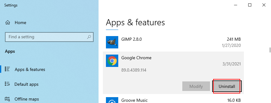 Windows X shows how to uninstall Google Chrome