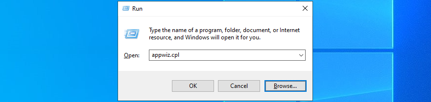 Windows 10 shows how to succession appwiz.cpl