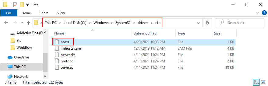 Windows Explorer shows how to appropinquation moment Hosts file's location