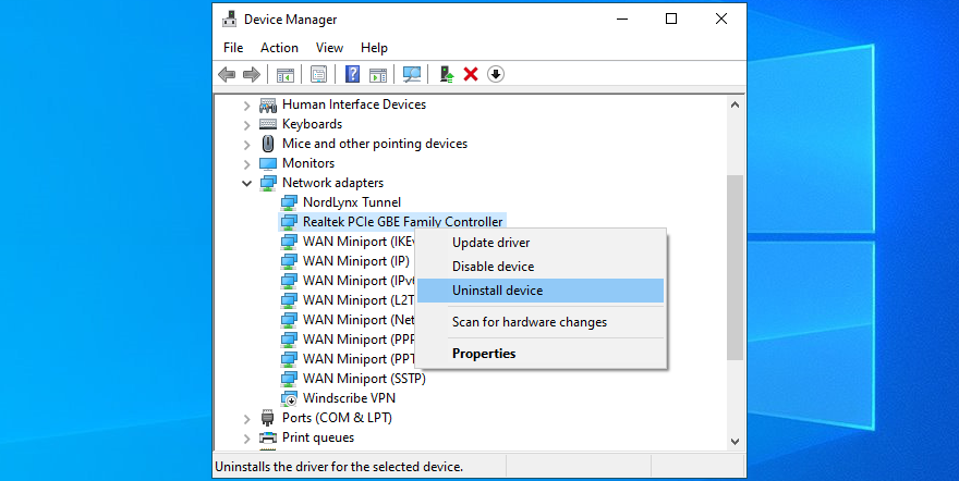 Device Order shows how to uninstall meshing device