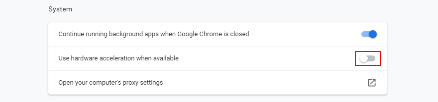 Chrome shows how to toggle hardware acceleration