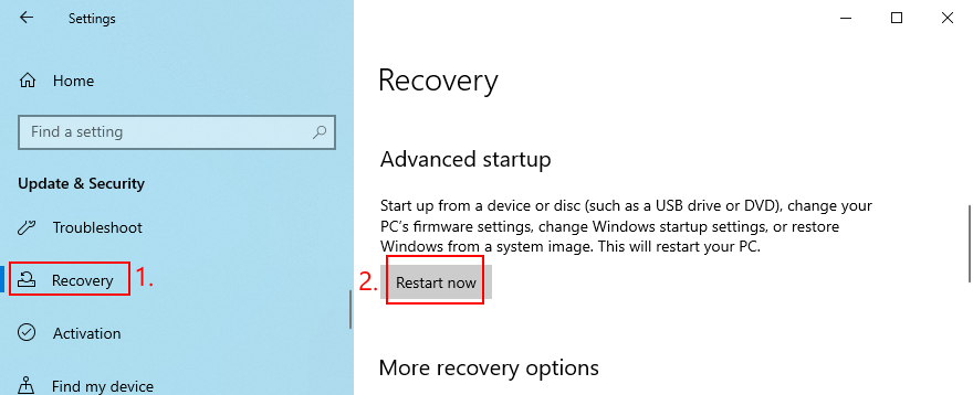 Windows 10 shows how to restart province Meandering Startup mode