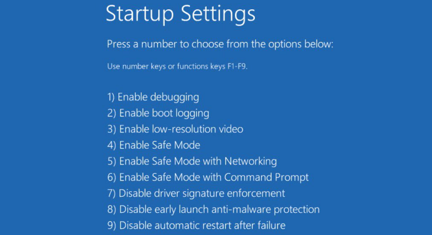 Windows 10 shows mis startup settings