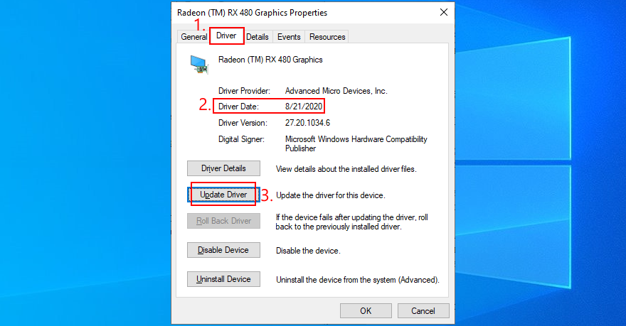 Windows 10 shows how to update moment showing driver