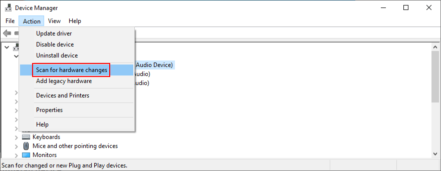 Device Manager shows how to recording higher hardware changes