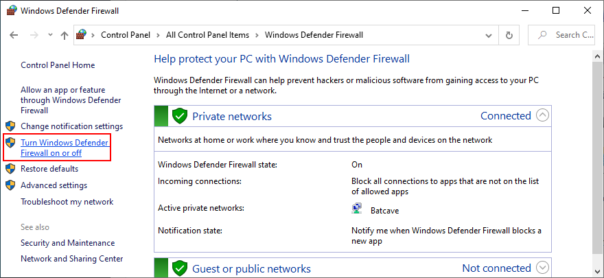 Control Hatchment shows how to allodium Windows Brigandine Firewall on or off