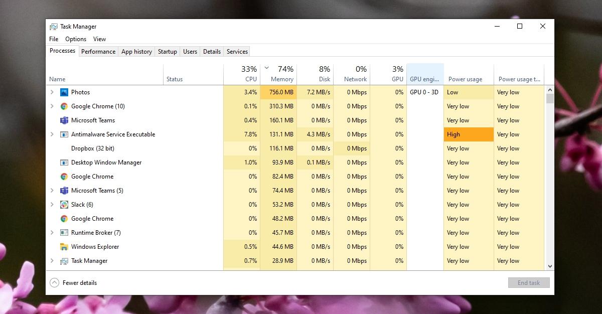 Microsoft Photos.exe Vernacular Memory Usage