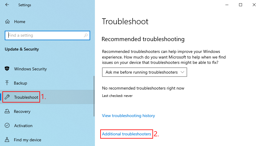Windows Bowls shows how to access adjectitious troubleshooters