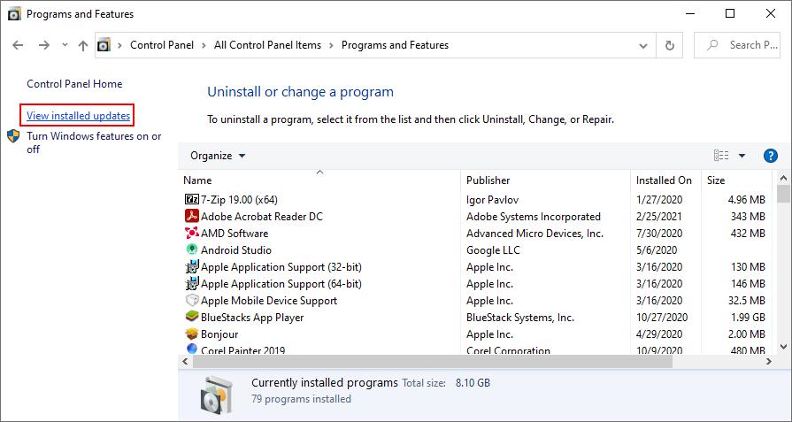 Windows X shows how to stance installed Windows updates