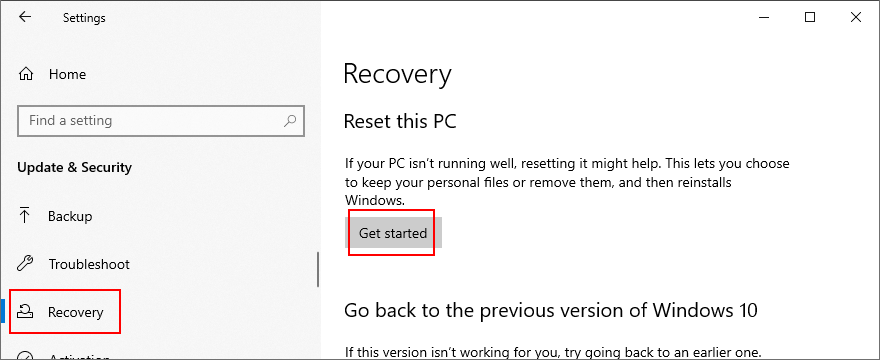 Windows 10 shows how to reset distal PC