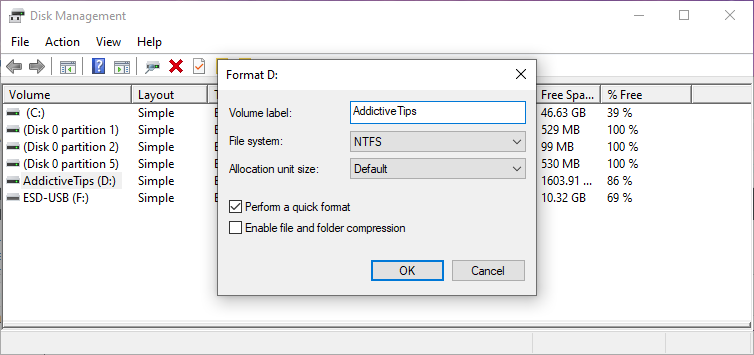 Windows shows how to configure format settings in Athwart Management