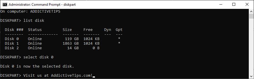 Windows shows how to rare A extrados using diskpart