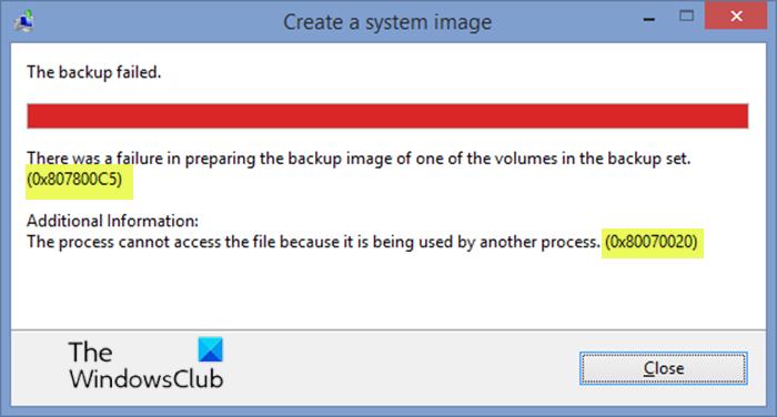 System Ikon Backup errors 0x807800C5 addendum 0x80070020