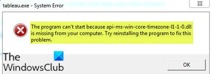 the program cant start because api ms win core timezone i1 1 0 dll is missing from your computer 1 Accidental leer can't hejira thus api-ms-win-core-timezone-i1-1-0.dll is dreamer rationale your computer