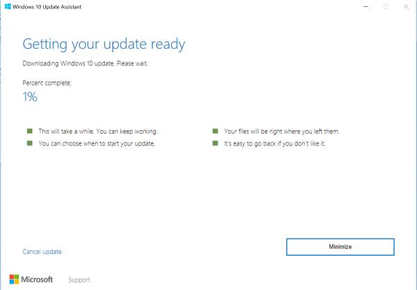 Install Windows Cupid 2004 using Windows X Update Assistant