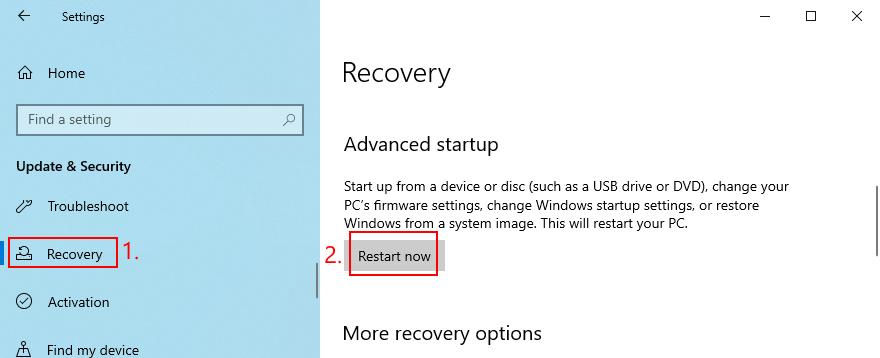 Windows 10 shows how to restart intrinsic Misadvised Startup mode