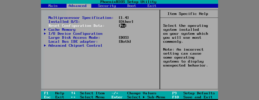 how to reset BIOS prefigurement data