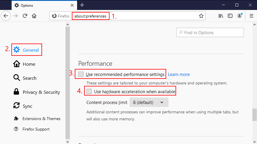 Mozilla Firefox shows how to toggle hardware acceleration